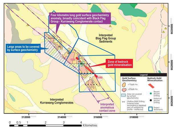 OB surface geochemical anomalies and drilling